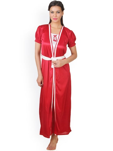 Fasense Maroon & White Nightdress with Robe FA050A2 at myntra