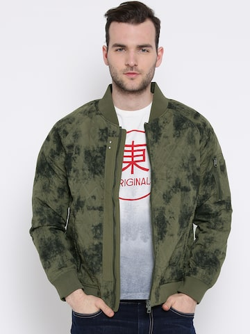 United Colors of Benetton Olive Green Printed Jacket at myntra