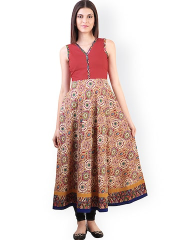 Libas Rust Red & Beige Printed Anarkali Kurta at myntra