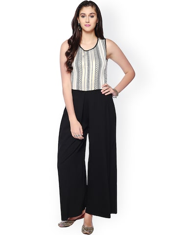 Global Desi Off-White & Black Printed Jumpsuit at myntra