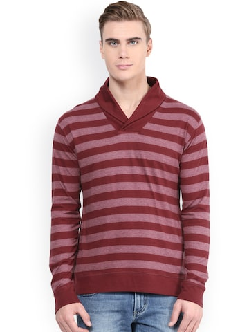 Hypernation Maroon Striped T-shirt at myntra