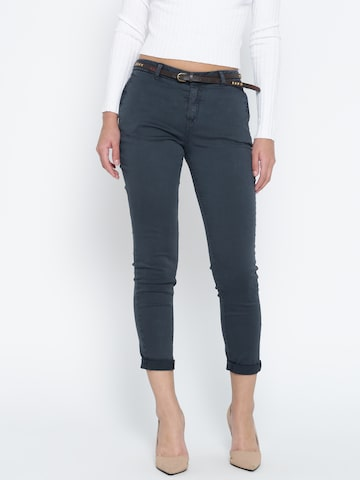 MANGO Women Grey Cropped Chino Trousers at myntra