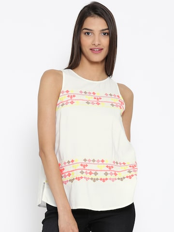 Vero Moda White Embroidered Top at myntra