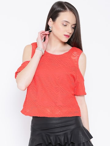 Vero Moda Red Lace Top at myntra