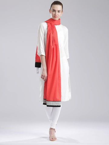 W Coral Red Self-Striped Dupatta at myntra