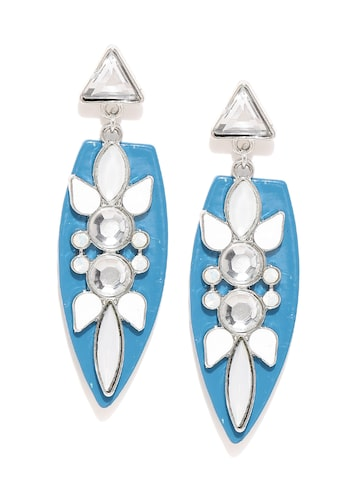 DressBerry White & Blue Stone-Studded Drop Earrings at myntra