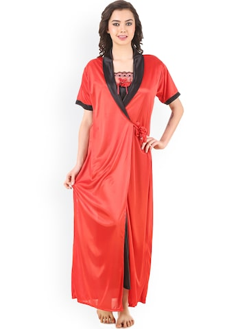 Masha Red & Black Nightdress with Robe HC-2P-A86-671 at myntra