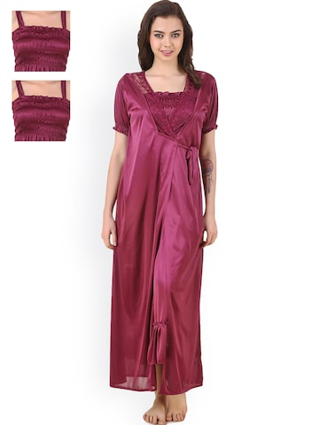 Masha Maroon Satin Nightdress Set HC-4P-A90-681 at myntra