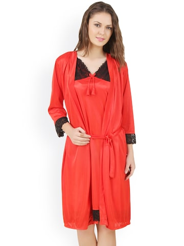 Masha Red Nightdress with Robe HC-2P-A93-685 at myntra