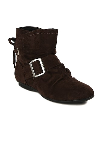 Bruno Manetti Women Brown Suede Boots at myntra