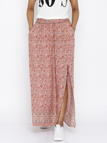 ONLY Light Brown Printed Maxi Skirt at myntra