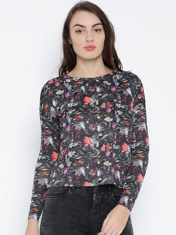 ONLY Charcoal Grey Floral Print Boxy Top at myntra