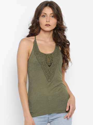 ONLY Olive Green Crochet Tank Top at myntra