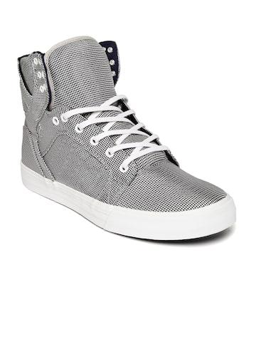 Supra Men Black & White Printed Sneakers at myntra