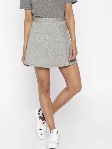Vero Moda Grey Melange Skater Skirt at myntra
