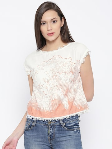 Vero Moda Off-White Printed Crop Top with Fringes at myntra