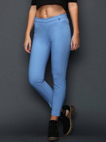 SELA Blue Casual Trousers at myntra