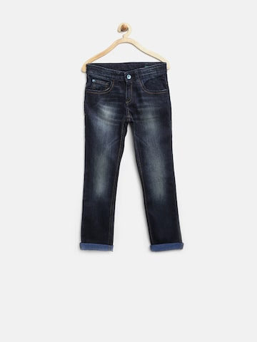 United Colors of Benetton Boys Dark Blue Washed Jeans at myntra