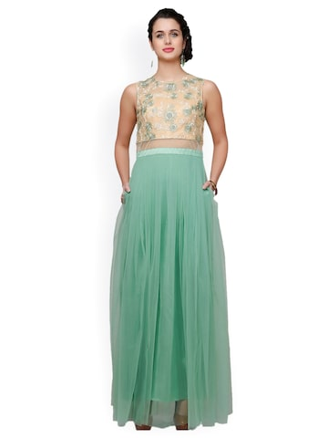 Eavan Green Embroidered Maxi Dress at myntra