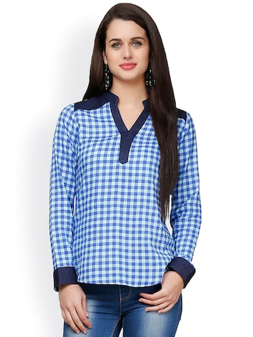 Eavan Blue Checked Top at myntra