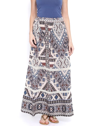 ONLY Multicoloured Printed Flared Skirt at myntra