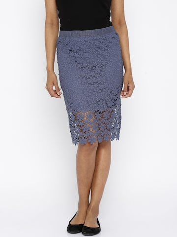 ONLY Blue Crochet Pencil Skirt at myntra
