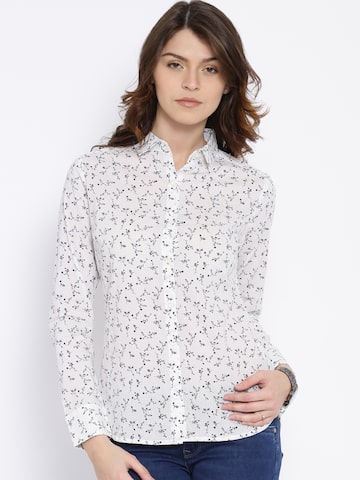 U.S. Polo Assn. Women White Printed Shirt at myntra