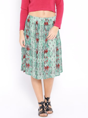Global Desi Sea Green Printed Flared Skirt at myntra