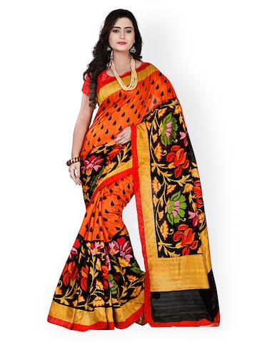 Florence Orange Bhagalpuri Art Silk Printed Saree at myntra