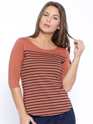 CULT FICTION Brown Striped T-shirt at myntra