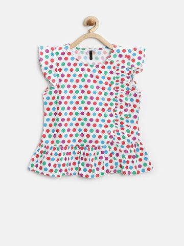 United Colors of Benetton Girls White Printed Ruffled Top at myntra
