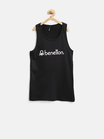 United Colors of Benetton Girls Black Printed Tank Top at myntra