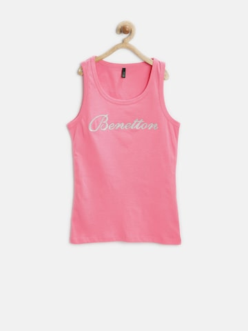 United Colors of Benetton Girls Pink Shimmer Top at myntra