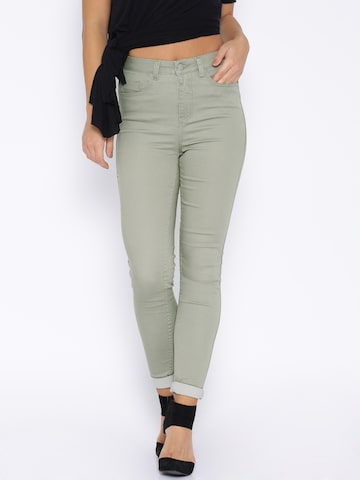 ONLY Grey Slim Fit Trousers at myntra