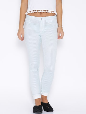 ONLY Blue & White Striped Trousers at myntra