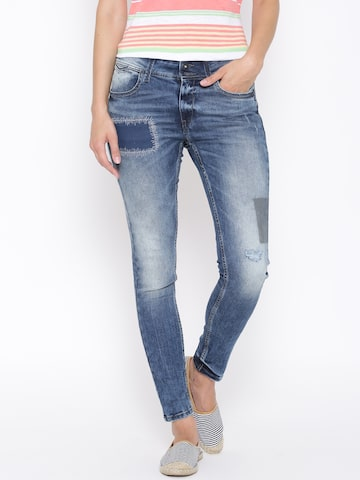 Pepe Jeans Blue Boyfriend Comfort Fit Jeans at myntra
