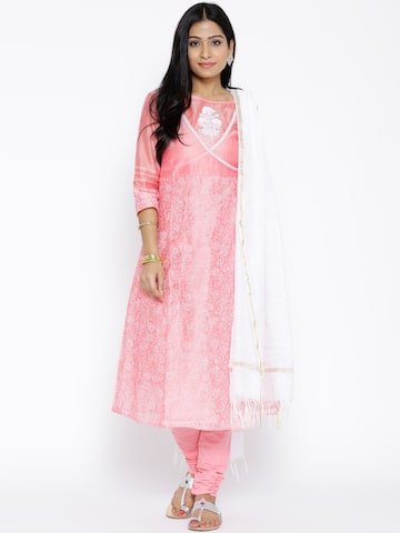 Aurelia Pink Printed Churidar Kurta with Dupatta at myntra