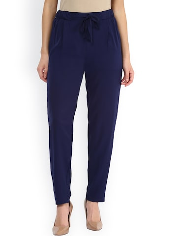 Miss Chase Navy Relaxed Fit Trousers at myntra
