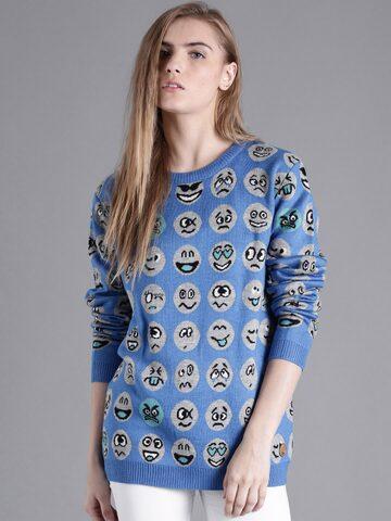 Kook N Keech Women Blue Patterned Sweater at myntra