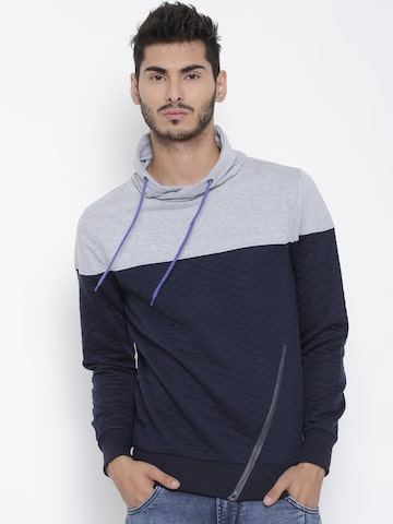 Kook N Keech Grey Melange & Navy Colourblocked Quilted Sweatshirt at myntra