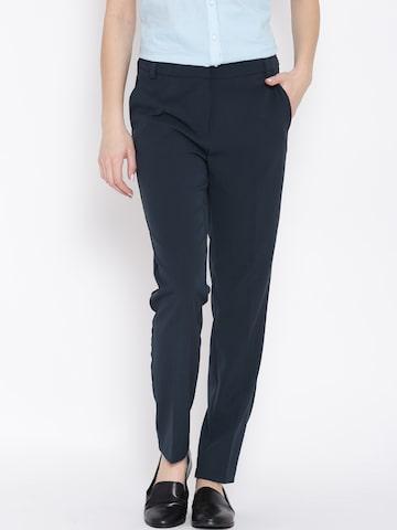 Vero Moda Navy Smart Casual Trousers at myntra