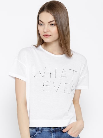 Vero Moda White Text Embroidered T-shirt at myntra