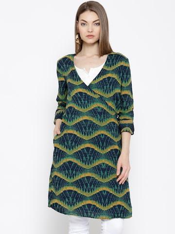Vero Moda Navy & Green Printed Wrap Tunic at myntra