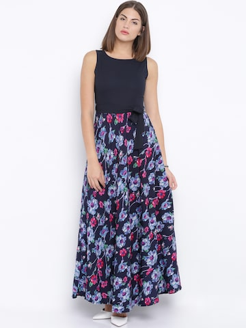 Tokyo Talkies Navy Floral Print Maxi Dress at myntra