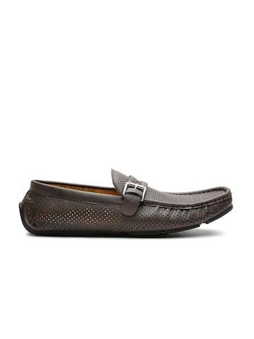 Carlton London Men Brown Perforated Loafers at myntra