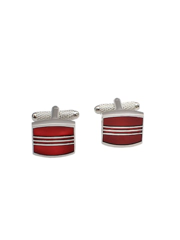 Alvaro Castagnino Silver-Toned & Red Cufflinks at myntra