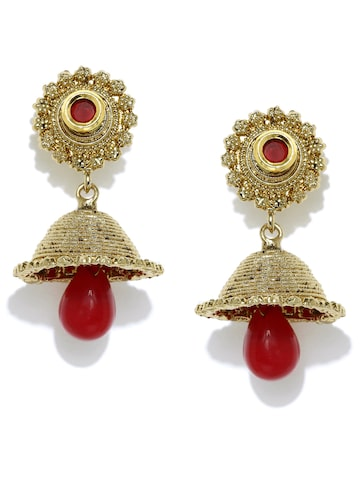 Zaveri Pearls Gold-Toned & Red Jhumka Earrings at myntra
