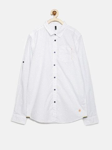United Colors of Benetton Boys White Dot Print Shirt at myntra