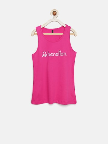 United Colors of Benetton Girls Pink Printed Tank Top at myntra