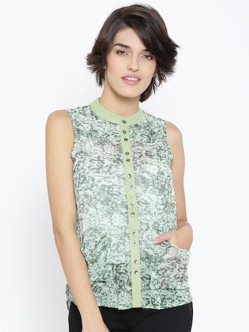 Vero Moda Green Polyester Printed Semi-Sheer Shirt at myntra